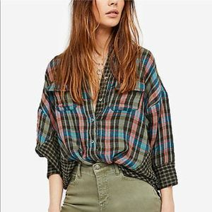 Free People One of the Guys Plaid Shirt Sz XS